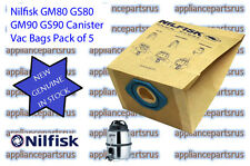 Nilfisk GM80 GS80 GM90 GS90 Canister Vac Paper Bags Pk of 5 81620000 - GENUINE