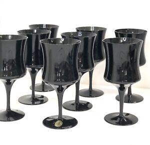 Set Of 8 MCM Black Glass CELEBRITY Hand Blown Japan Wine Glasses Stemware