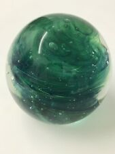 Kerry Studio Art Glass Green Swirl Bubbled Paperweight Original Vintage Label