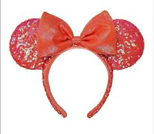Disney Parks Ariel Grotto Coral Orange Minnie Ears Headband Hat New In Hand NWT