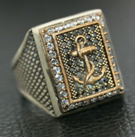 Statement Marine Yacht Captain Sterling Silver Men's Scaled Large CZ Ring Sz 11