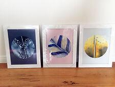 3 x Circle Watercolour Art Prints Missy Joelle Scandi Style Framed Poster Pink