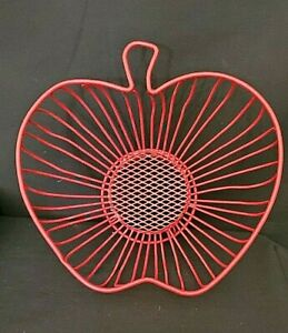Red  Apple Shaped  Wire  Basket  or  Fruit  Bowl