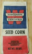 VINTAGE W WISCONSIN CERTIFIED CORN SEED BAG SACK  BRIGHT COLORS