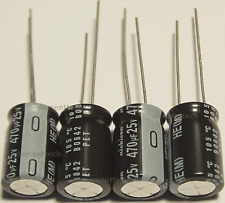 4x Nichicon HE 470uF 25v Low-ESR radial capacitors caps 105C 10mm 10x16