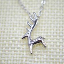 """925 Sterling Silver Plated Deer Hunter Stag corno Ciondolo Collana Catena 17.7"""""""