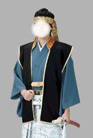 Japanese Samurai Bushi Jacket Jinbaori Cosplay Kimono Black New