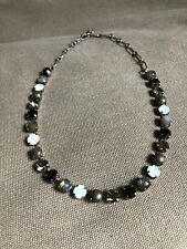 "Mariana Jewelry Women's Necklace Jet Gray Silk Swarovski Crystal 14"" - 18"""
