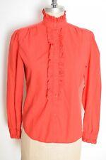 vintage 80s Dvf top Diane von Furstenberg red tuxedo ruffle shirt blouse M