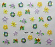 Accessoire ongles : nail art - Stickers autocollants, fleur couronne multicolore