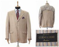 Mens CORNELIANI Blazer Coat Jacket Wool Silk Linen Two Button  Beige Size 44 54