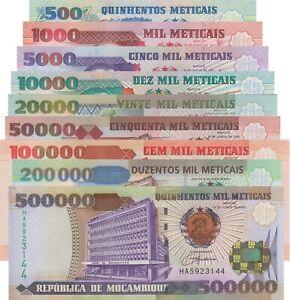 Mozambique 9 Note Set: 500 to 500,000 Meticais (1991/2003) - p134-p142 UNC