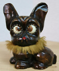 Rare Antique Novelty Oswald Rolling Eyes Carved Wooden French Bulldog Desk Clock