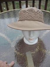 Sun Hat Wide Brim Liz Claiborne Beach Hiking Khaki Color Crochet Trim