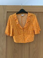 ladies miss selfridge size 10 Summer Crop Top Yellow Flowery Detail