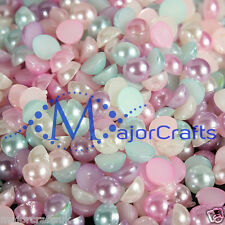 50pcs 14mm Pastel Mixed Colours Flat Back Half Round Resin Pearls Craft Gems