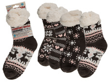 Womens Ice Flower Heart Reindeer Comfort Socks - Winter Fluffy Warm Cosy Present