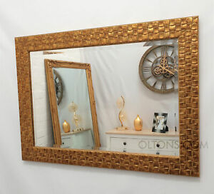 "John Lewis Gold Mosaic Wall Mirror Solid Wood Frame Bevelled 66x92cm (26""x36"")"