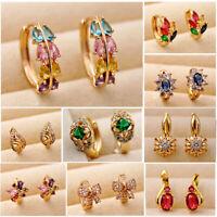 Trendy 18K Gold Filled Earrings Topaz Zircon Hoop Cuff Stud women Wedding Party