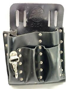 Klein Tools #5164 Lineman Electrician Work Belt Pouch 8 Pocket Leather Black