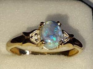 UK Hallmarked 9ct Yellow Gold Fabulous Black Opal Doublete & Diamond Ring, Sz V