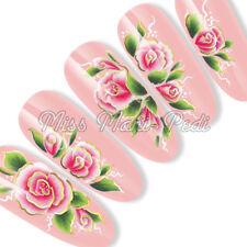 Nail Art Uñas Largas Agua calcomanías transferencias pegatinas Oriental Rosa sl025a Oro