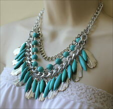 South Western Cowgirl Turquoise Bead Silver Feather Charms Tribal Necklace Set