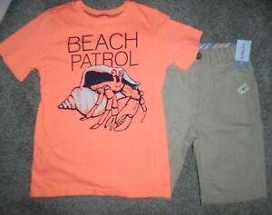 NWT Carter's Sz 7 Tan Khaki adjustable waist shorts Corral orange beach t shirt