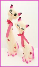 """Vintage Pink Pair Tall Long Neck Ceramic Cat Figurines-14.5"""" and 11.5""""-Adorable"""