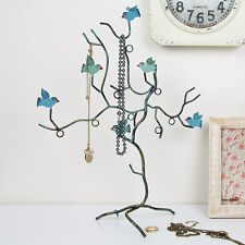 JEWELLERY TREE HOLDER STAND BIRD BRANCH DECORATIVE TEAL NECKLACE BRACELETS w