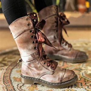 Women Mid-Calf Boots Fold Over Cuff Floral Lined Lace Up Combat Casual Booties