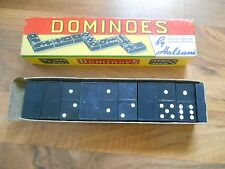 Old Vintage Game Set Double Six Dominoes by Halsam USA Empire State Building