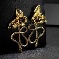 Earrings Chandelier Pink Flower Metal Snake Lacework Baroque XX31