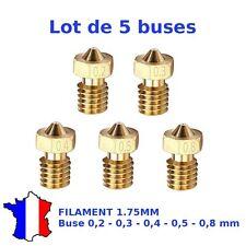 5 x Buses imprimante 3D Extrudeur V4/V5/V6 - M6 - Diamètre 0,2/0,3/0,4/0,5/0,8mm