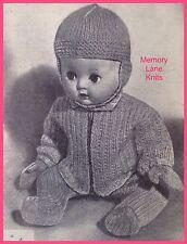 Set per carrozzina bambola vestito abiti Vintage Lavoro a Maglia Motivo Leggings Casco Cappello. 71