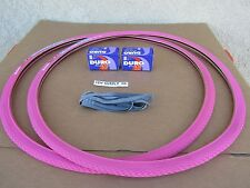 [2] New 700 X 24 C Bicycle Pink Tires [2] Tubes & [2] Liners, Road, Fixie