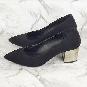 London Rebel Black Suede Metallic Gold Block Heel Enclosed Pointed Toe Size 9 40