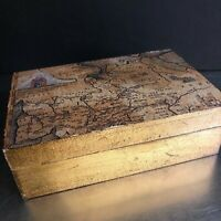 Florentine Gold Wooden Trinket Jewelry Box Ancient Map Made Italy Sezzatini