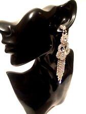 Womens Statement Big Large Silver CRYSTAL Diamante Drop Dangle Earrings WEDDING