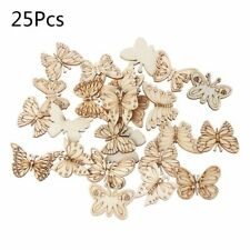 25pcs Laser Cut Butterfly Wood Embellishment Wooden Shape Craft Wedding Decor