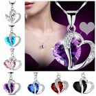 Charm Women Heart Crystal Silver Amethyst Gemstone Pendant Necklace Jewelry