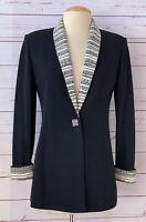 ST JOHN Evening Size 2 Black Embellished Santana Knit Jacket