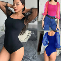 Women Bodysuit Bodycon Jumpsuit Romper Mest Tops Blouse Playsuit Long Sleeve