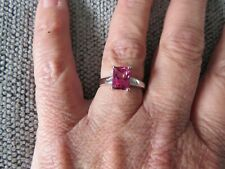 MYSTIC PINK TOPAZ OCTAGONAL SOLITAIRE RING-SIZE Q- 1.890CTS-STERLING SILVER 925