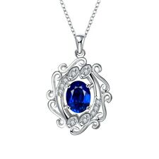 Antique 925 Sterling Silver SF Filigree CZ Pendant Necklace Gift Woman N-A663