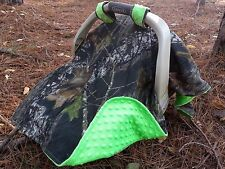 Camo Canopy Cover, Mossy Oak fabric and Lime Green Minky