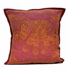Indian Applique Elephant Maroon Jari Cushion Cover Ethnic Home Decorative