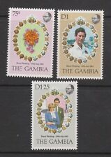 1981 Royal Wedding Charles & Diana MNH Stamp Set The Gambia SG 454-456