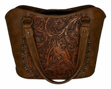 Back in the Saddle Sz Large Embossed Leather Brown Handbag