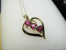 Ruby Pendant Heart Shaped 10K Yellow Gold on 10K Yellow Gold Chain, New
